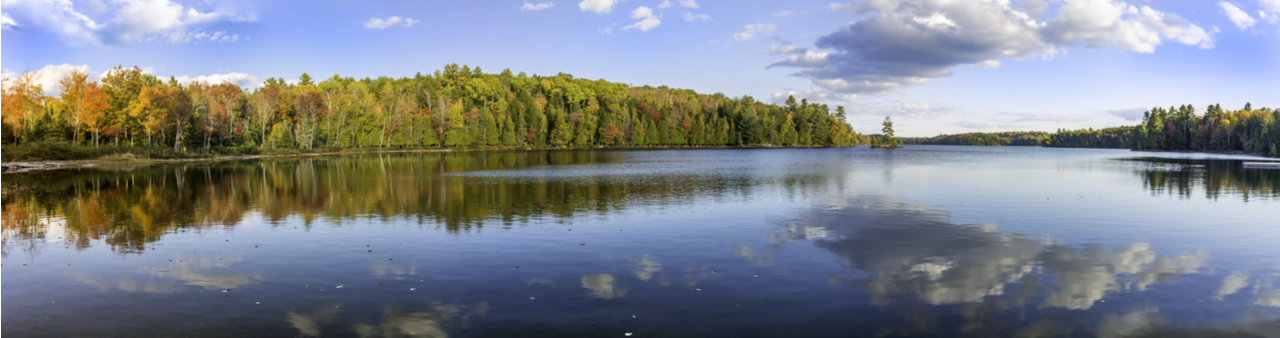 Muskoka lake in springtime with blue sky, woods and clouds reflected in the water