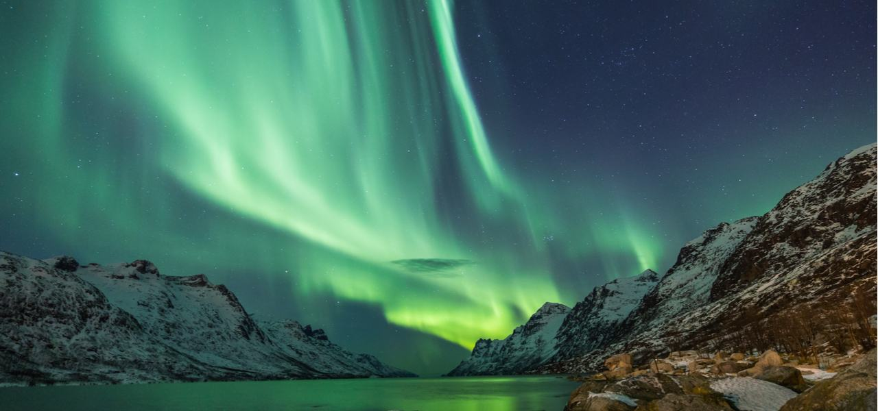A view of the magnificent Northern Lights or Aurora Borealis in Scandinavia