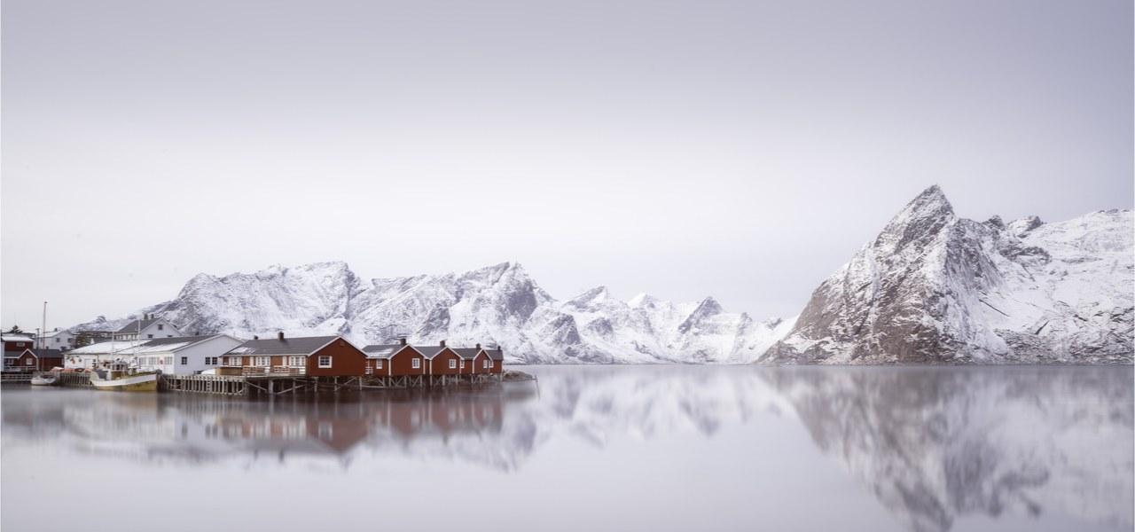 Hamnoy village, Lofoten islands in Norway during winter.