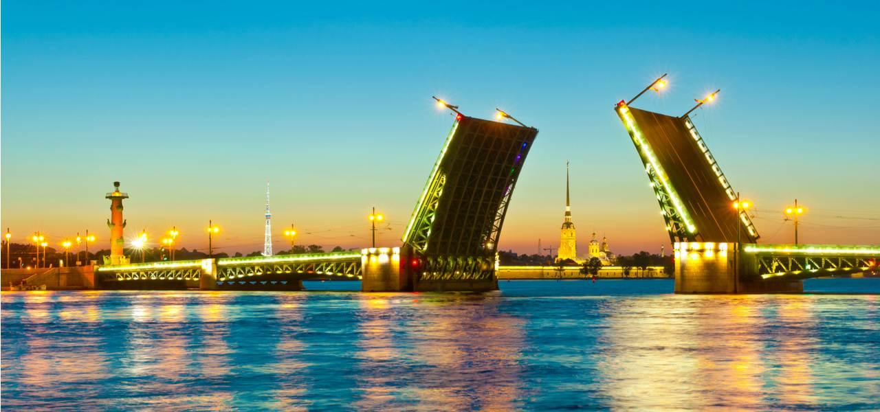 The drawbridges open over the Neva river as part of the White Nights Festival
