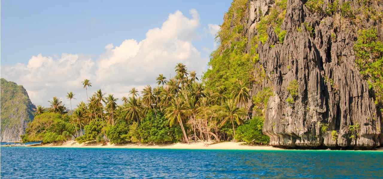 Palawan Island Province with beautiful aqua-blue waters and sky