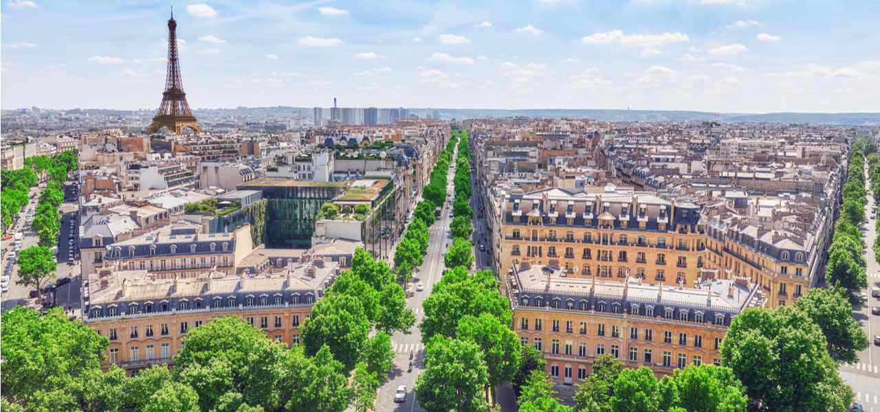 Panoramic view of Champs-Élysées and the Eiffel Tower from the roof of the Arc de Triomphe