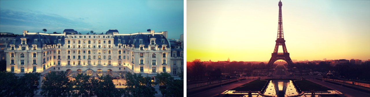 Peninsula Paris Hotel on the left and a view of the Eiffel Tower at dusk on the right