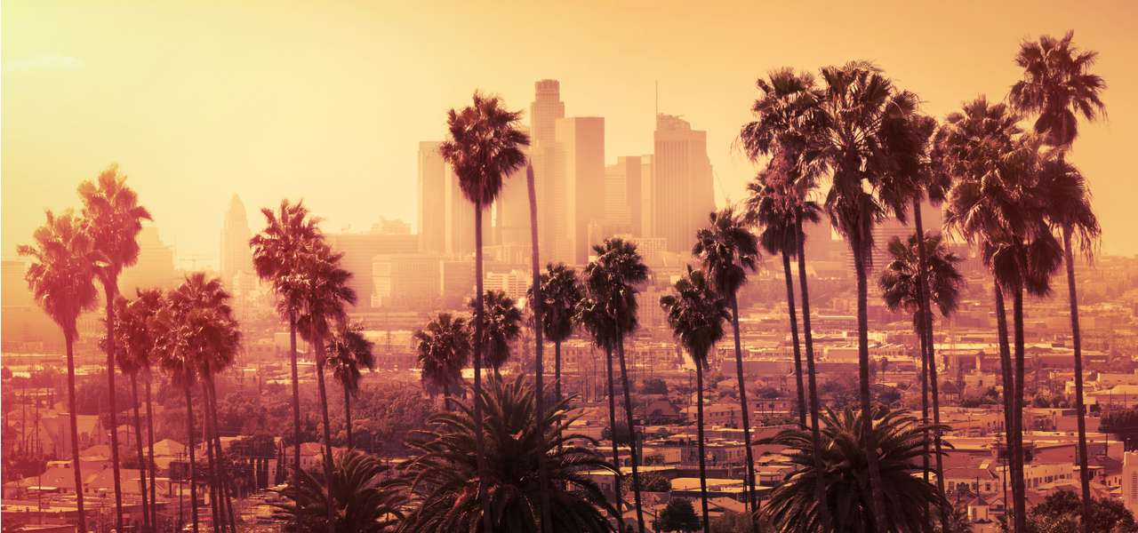 Pink and orange haze over Downtown Los Angeles at sunset