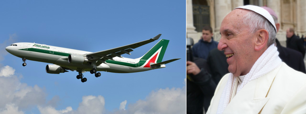 Pope Francis waving on the right and an Alitalia Airbus A330-200