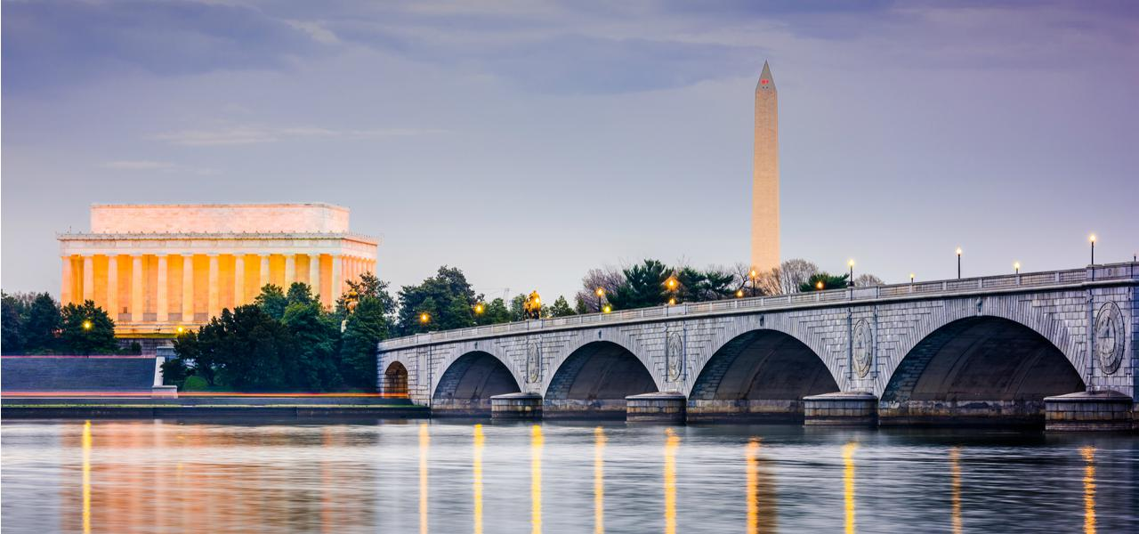 The Potomac River with Lincoln Memorial and Washington Monument behind