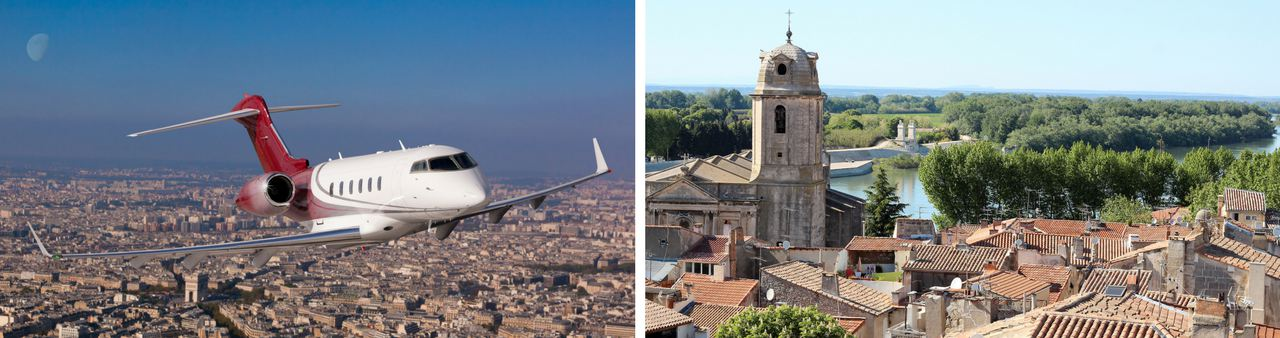 Private jet aircraft flying over city on the left and a view from the top of Arles in the South of France
