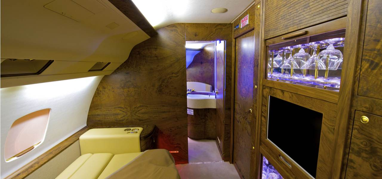 An entertainment suite on board a private jet