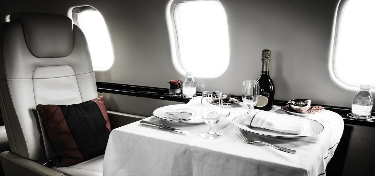 Private jet prepared for a meal