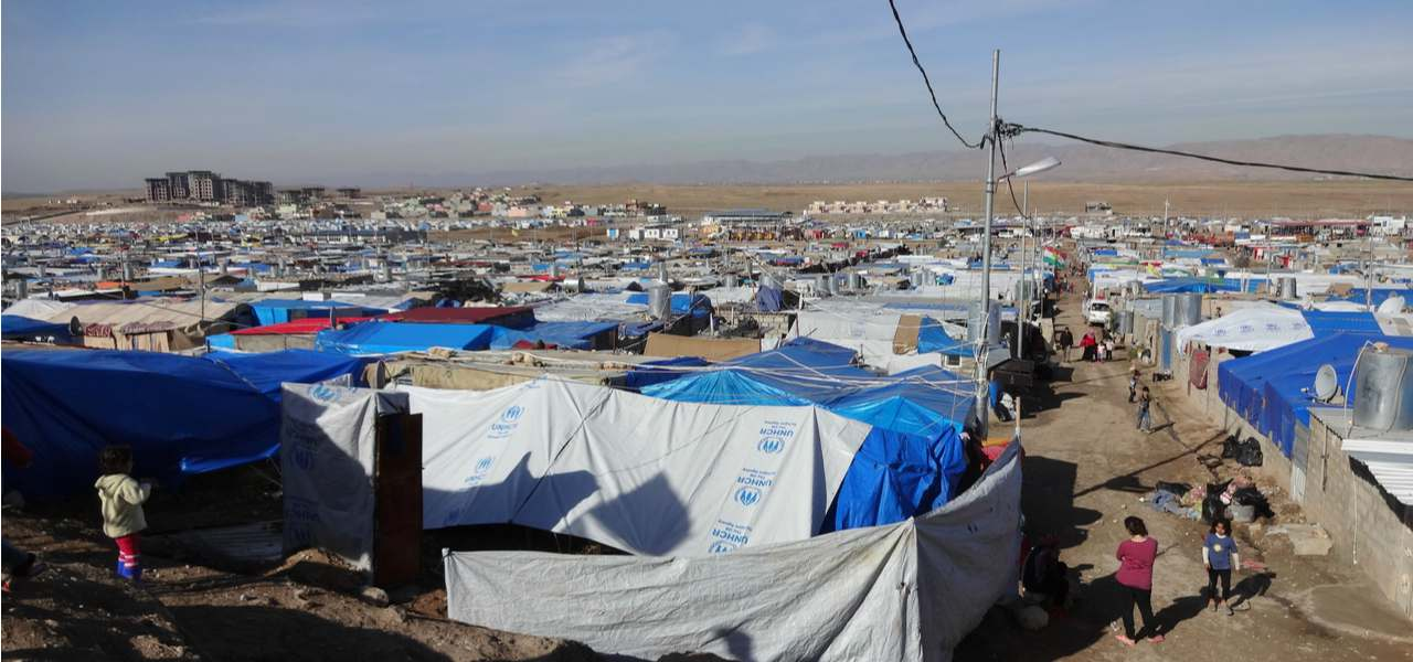 Makeshift tents stretch as far as the eye can see in one of Iraq's many refugee camps during evacuations in 2014