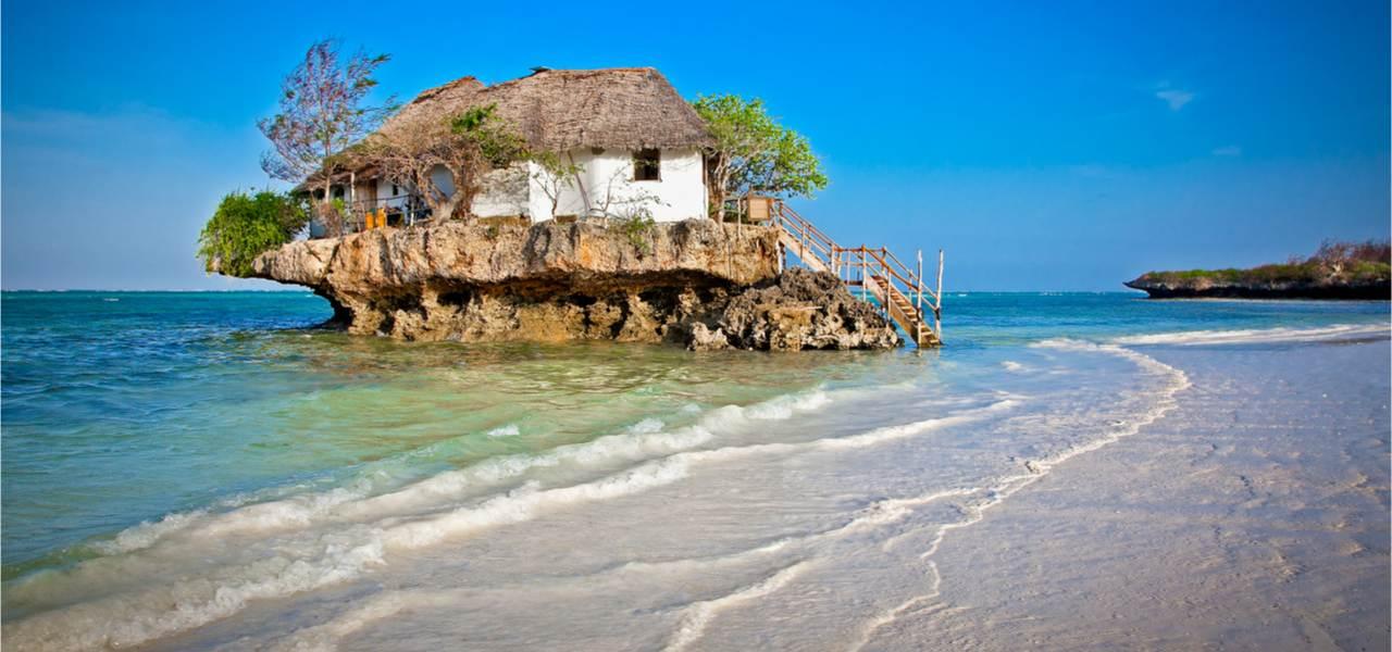 Romantic Rock Restaurant on water in Tanzania