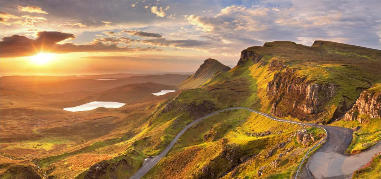 Sunrise over the Quiraing on the Isle of Skye in Scotland