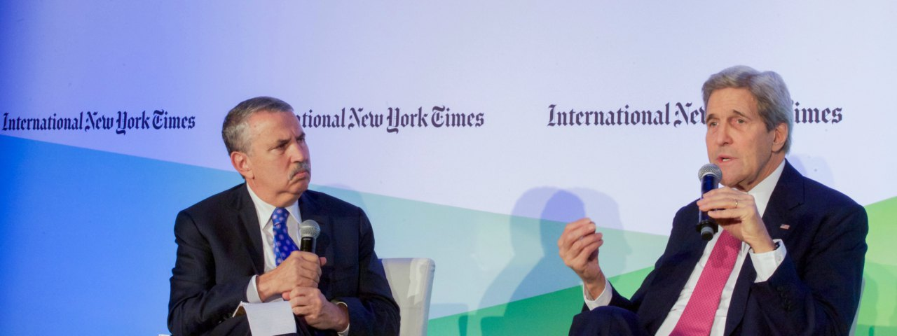 Secretary Kerry and New York Times columnist Friedman during the 2017 Paris Accord discussions
