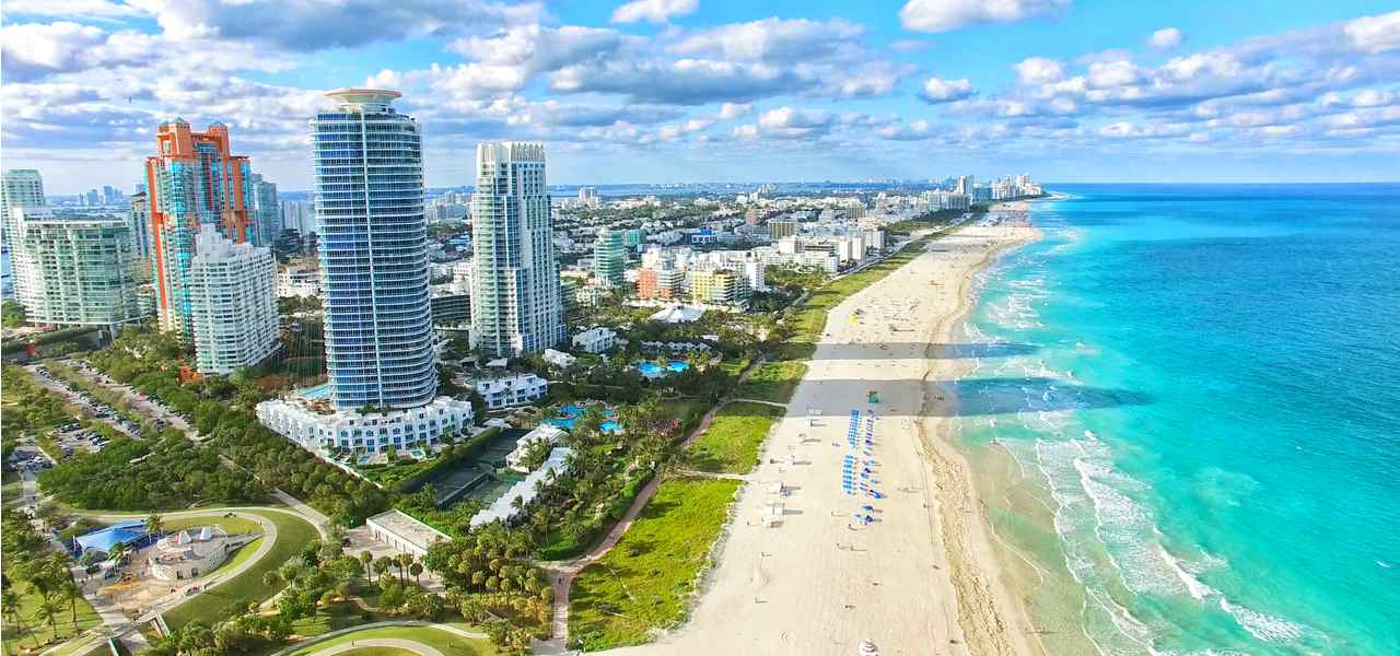 Aerial view of South Beach, Miami, Florida