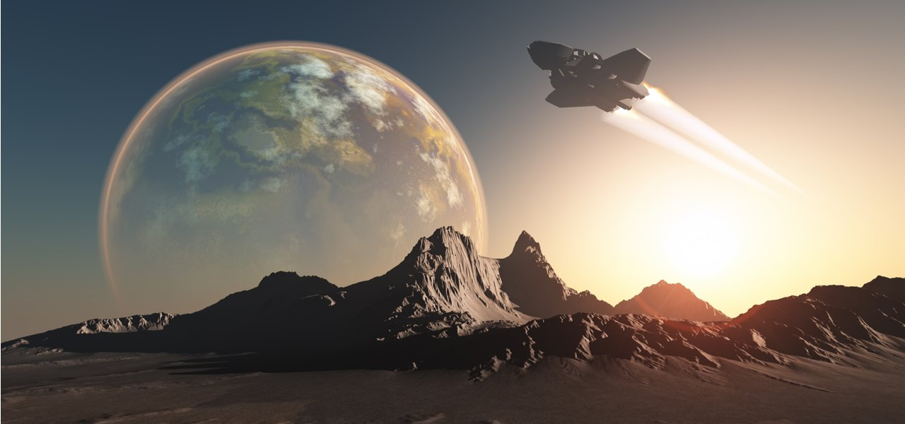 A spaceship flies in low orbit over a rocky planet, with an Earth-like planet in the background