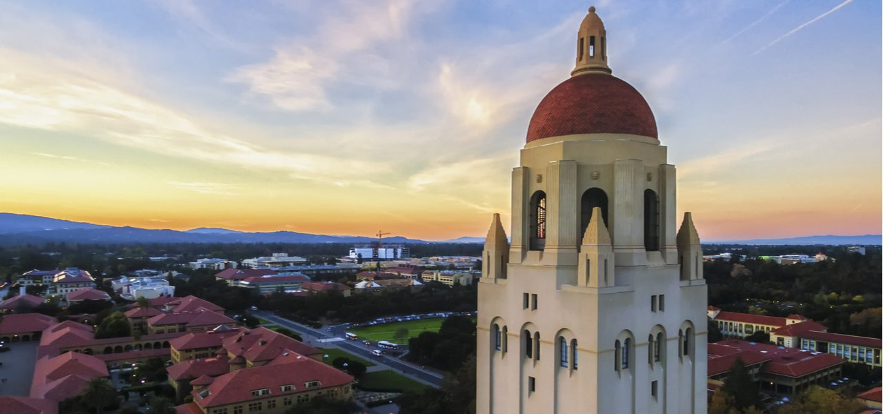 The Hoover Tower and view above Stanford at sunset in Palo Alto in California