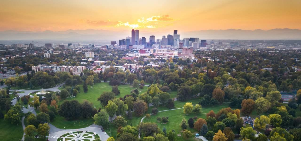 Sunset on the city of Denver