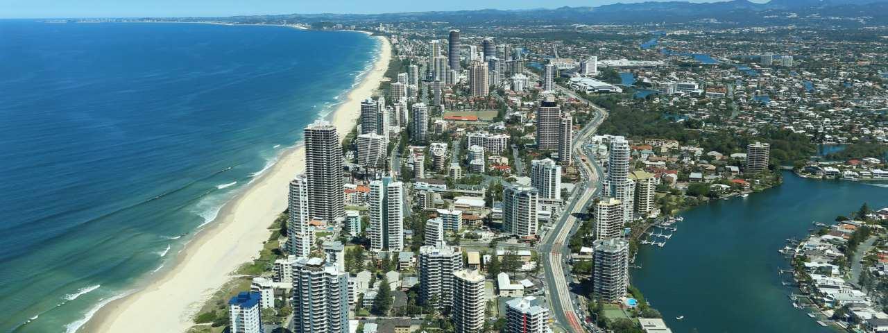 Surfers Paradise, Australia, on the Gold Coast, an aerial shot