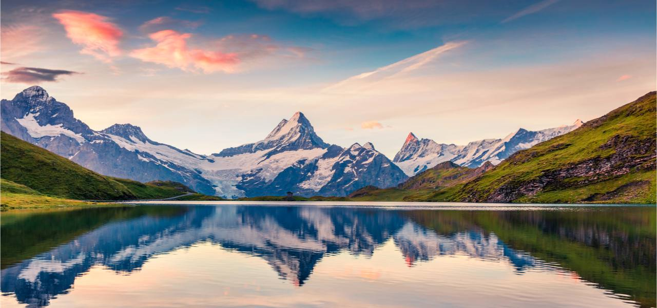 Morning scene in the Swiss Bernese Alps during summer