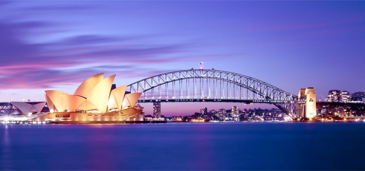 A photo of Sydney Opera House and Harbour Bridge at the end of the day