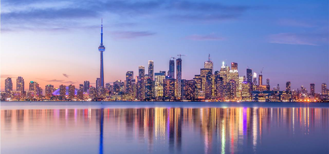 Toronto city Skyline with purple light