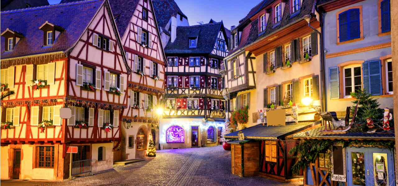 Traditional half-timbered houses in Colmar, France, at Christmastime
