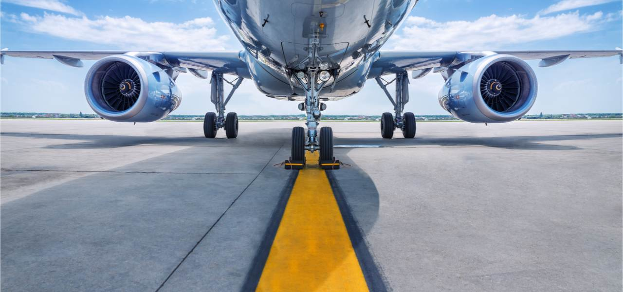 View of the turbines of an aircraft on the runway.