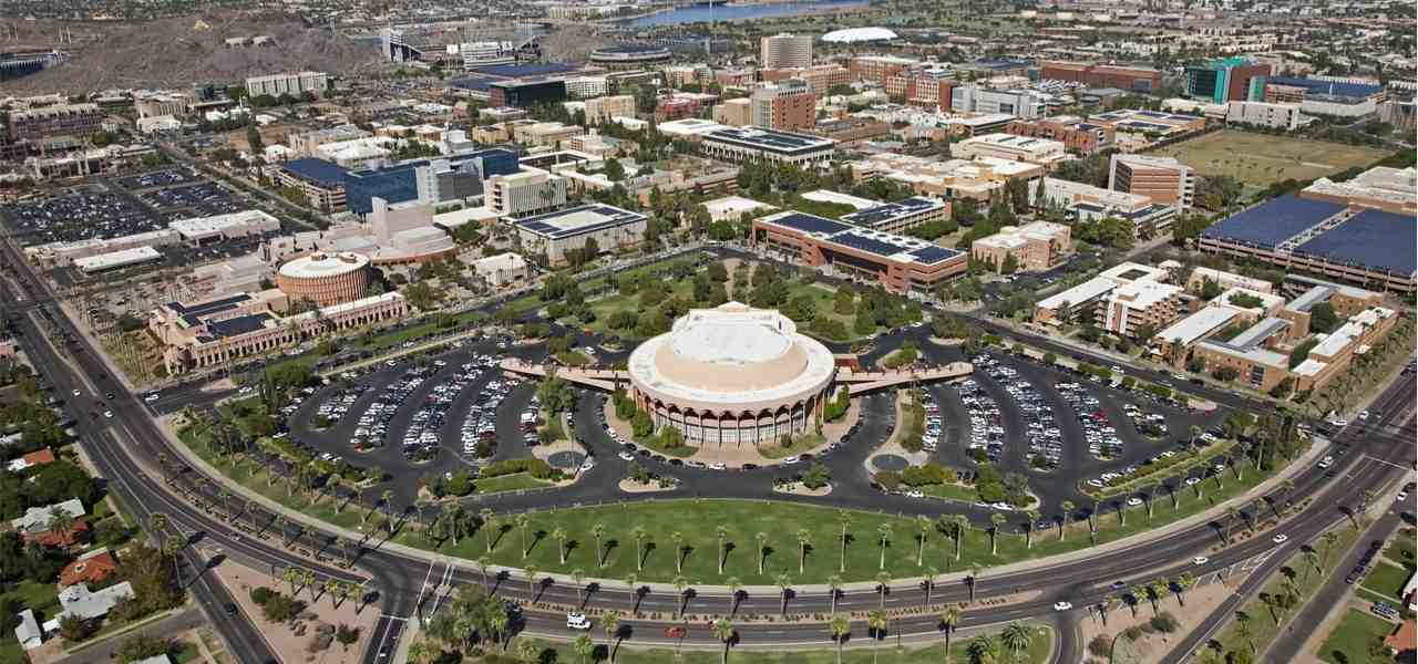 View from the sky of the University in Tempe, Arizona during a sunny day.