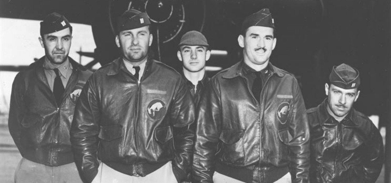 US Airforce 95th Bombardment Squadron in the Second World War wearing bomber jackets