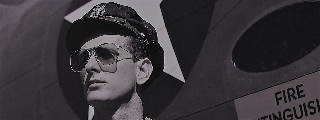 US Army test pilot wearing Bausch & Lomb's dark aviator glasses in October 1942