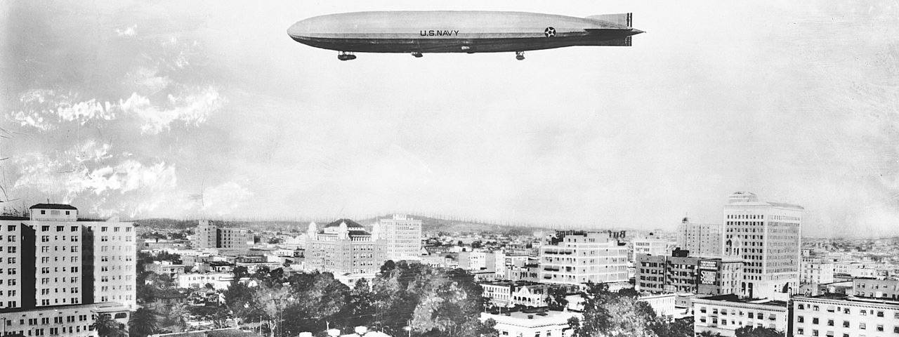 The US Navy dirigible, USS Shenandoah, over Long Beach, 1920.