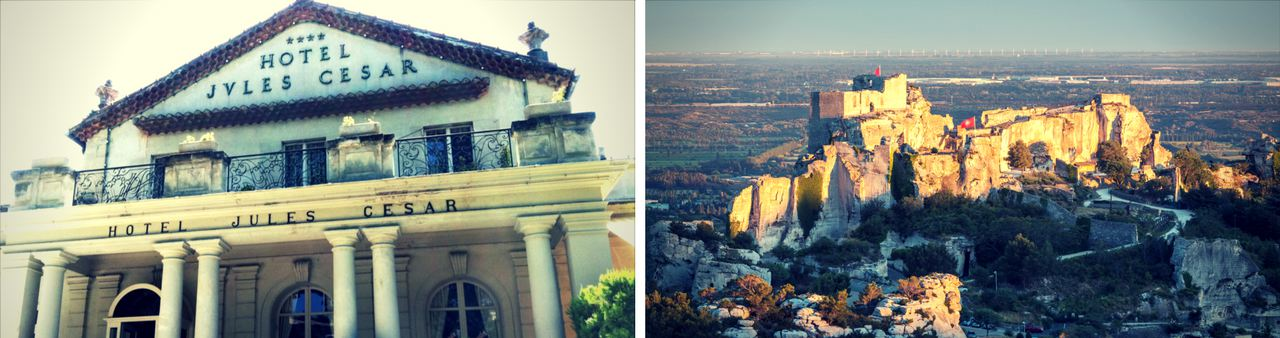 View from the front of the Hotel Jules César on the left and a view of a Castle in Provence on the right