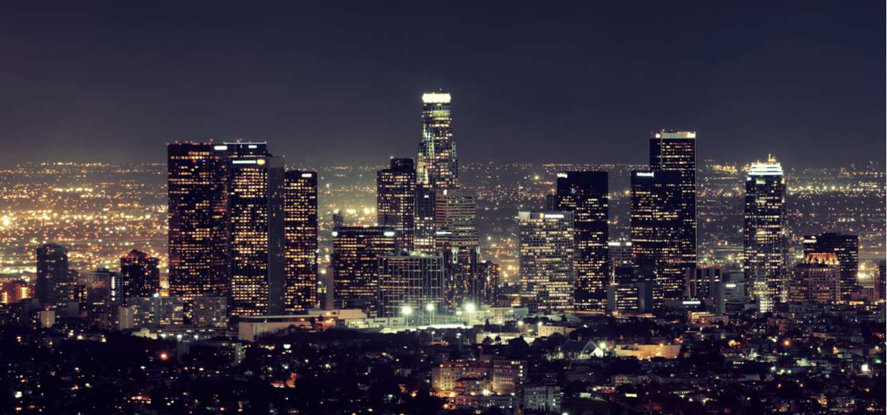 View of downtown Los Angeles lit up at night