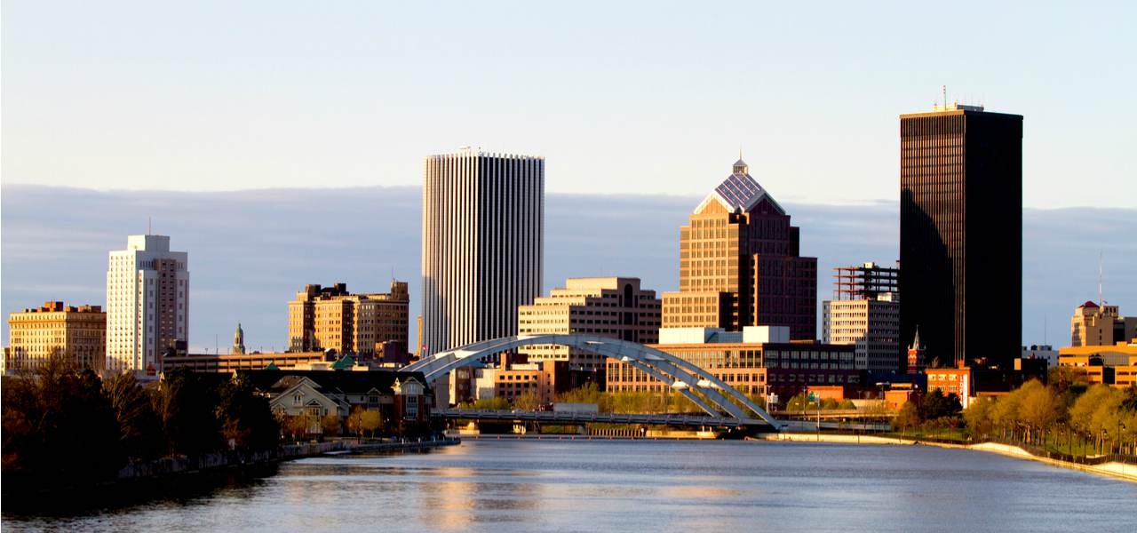View of Rochester skyline at dusk, New York, USA