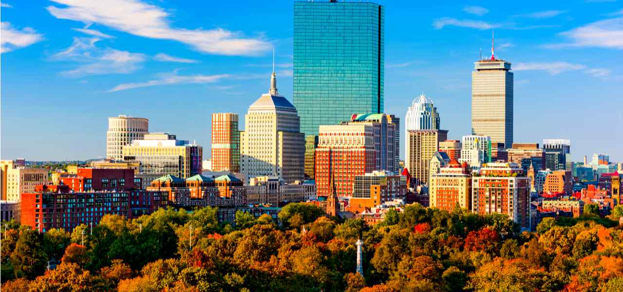 View of skyline of Boston Common Park and city buildings, Massachusetts
