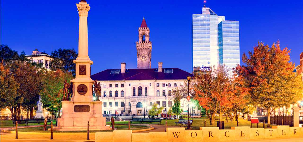 View of Worcester downtown in Massachusetts, USA
