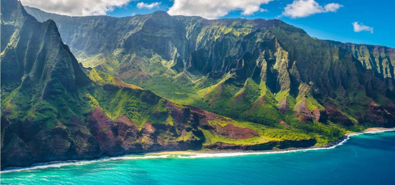 View on Napali Coast on Kauai island, Hawaii
