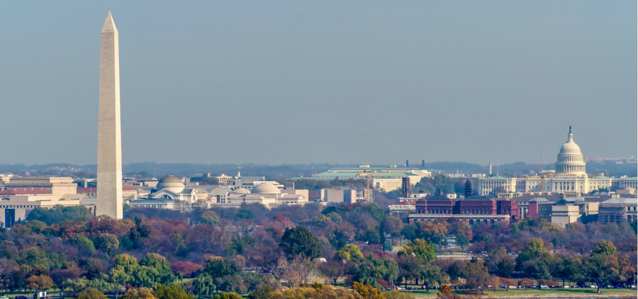 The Washington Monument and United States Capitol Building among fall trees in Washington D.C