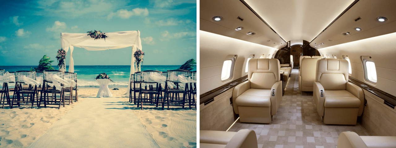 Beach decorated as wedding venue with chairs and make-shift altar set up for the bridal party with on left with Bombardier Challenger 850 private jet interior on right