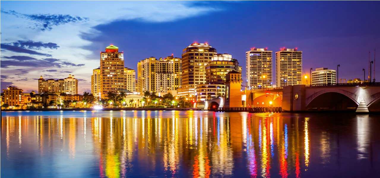 West Palm Beach, Florida lit up at dusk
