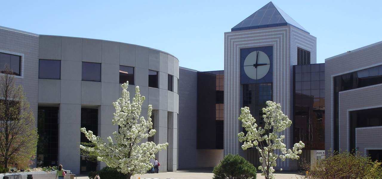 View of the library on Western Michigan University campus during spring.