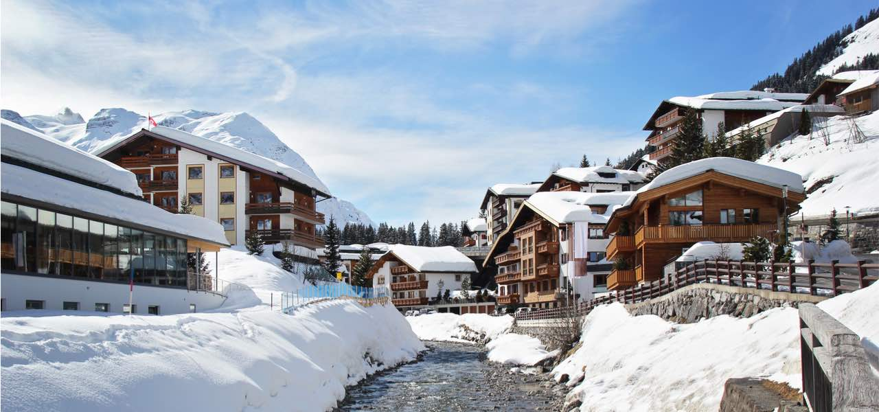 Winter in the skiing resort of Lech in Austria.