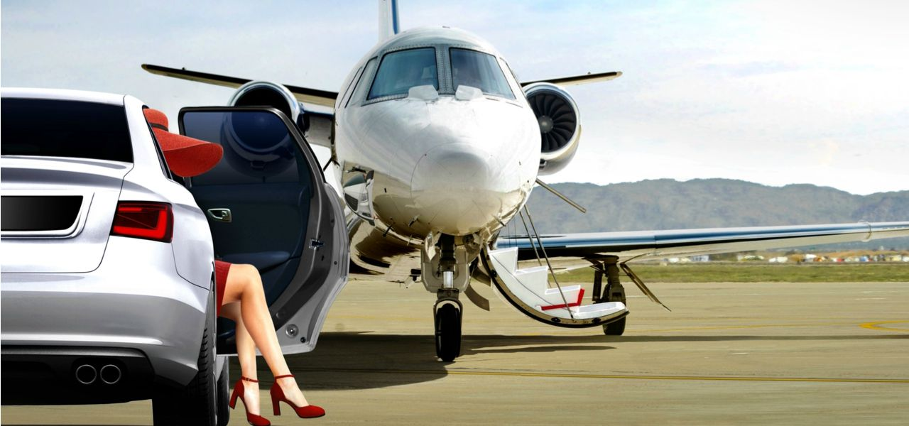 Women getting ready to board a private jet