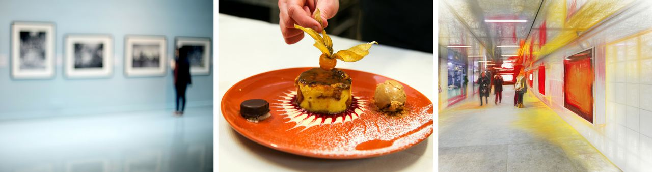 Woman viewing photography, dessert to try at french patisserie and an exclusive gallery