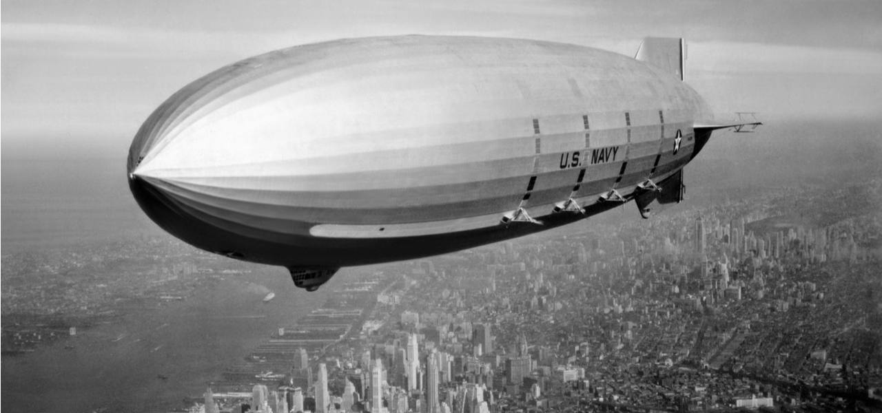The USS Macon, an American airship, floating over the city of New York in 1933