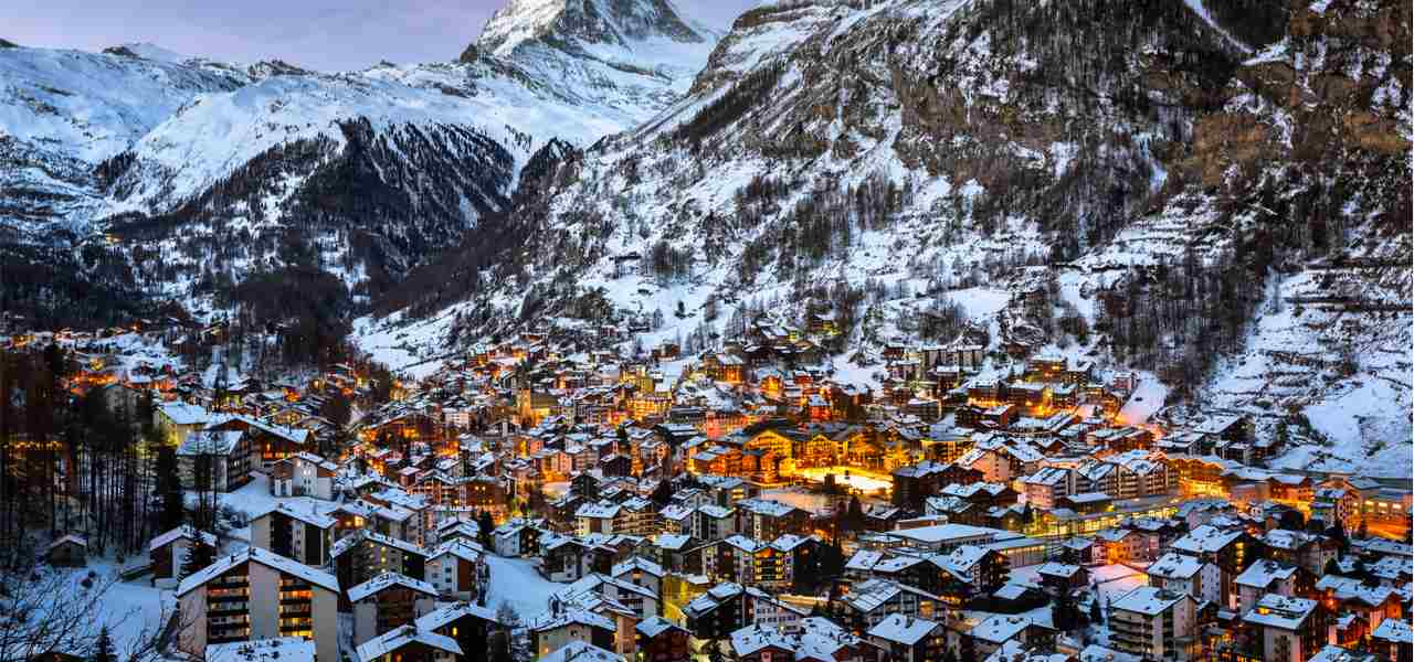 Aerial view on Zermatt Valley in the morning, Switzerland