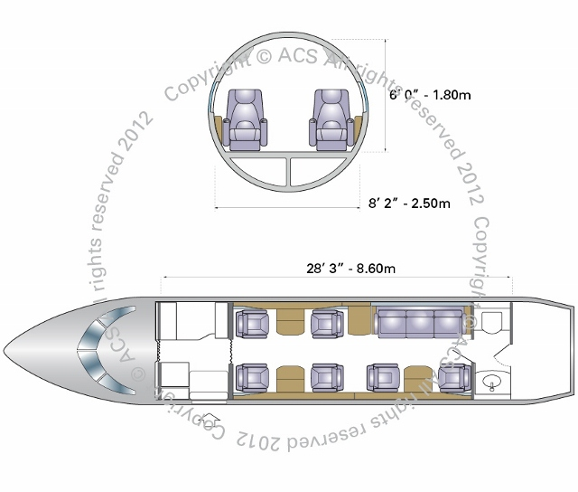 Layout Digram of BOMBARDIER CHALLENGER 604 605